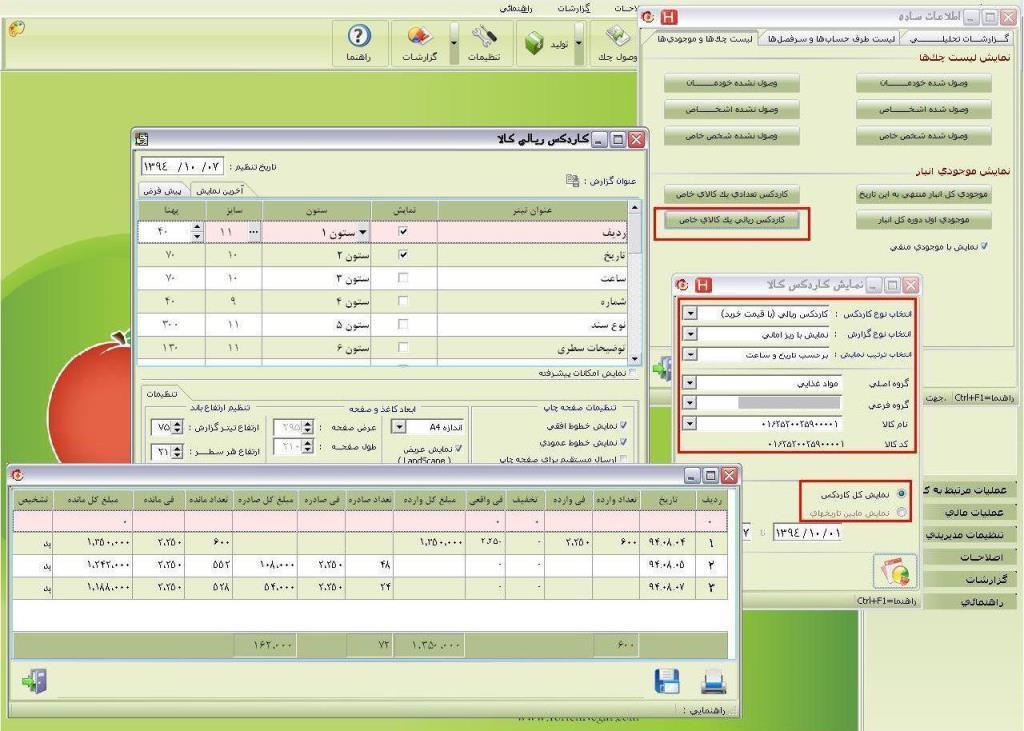 گزارشات عمومی لیست چک ها و موجودی ها